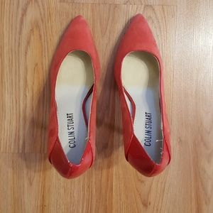 Colin Stuart red suede & patent leather high heel